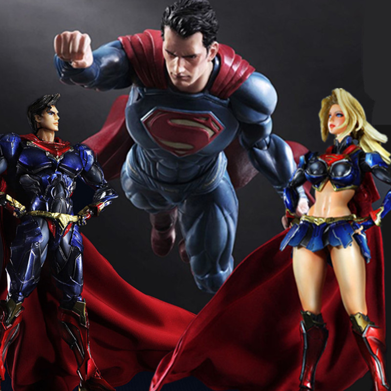 Superman Play Arts Kai Toiminta Kuva Supergirl Super Woman Keräilevä malli Lelu PVC Anime Super Man Supergirl Playarts