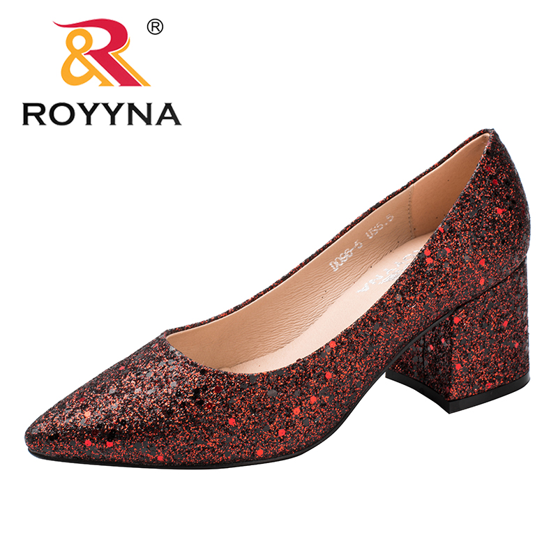 ROYYNA New Fashion Style Women Pumps Pointed Toe Women Office Shoes Square Heels Lady Wedding Shoes Comfortable Free Shipping royyna new fashion style women pumps round toe women dress shoes high heels women office shoes slip on lady wedding shoes