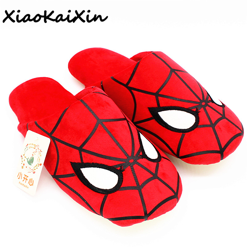 XiaoKaiXin 2018 New Spring/Autumn Cartoon Home Shoes Couples Red SpiderMan Style Indoor Warm Short Plush Rubber Nonslip Slippers cartoon airplane style red