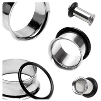 MAHA 1 Pair Single Flare stainless steel Ear Plugs Rings Tunnel Earlet Piercing Jewelry Steel color, 4mm