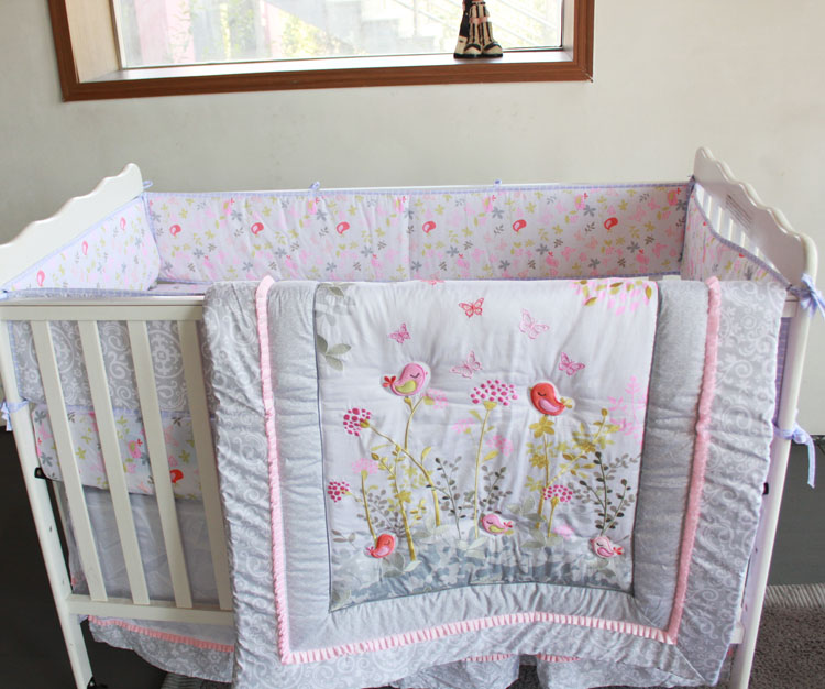 2016 100 Cotton 7pcs Baby Bedding Set Embroidery 3d Pink