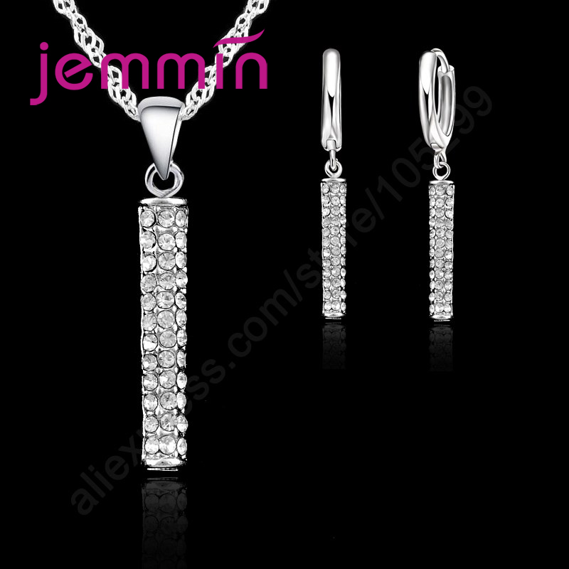 Magic Female 925 Sterling Silver Long Chain Pendant Necklace Earrings Jewelry Sets 925 Sterling Silver For Girls Gift(China)