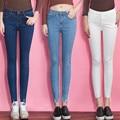 Moda Primavera verão mulher Oco Magro Elasticidade Calças Jeans Lápis Ripped Skinny Cintura Alta nove calças