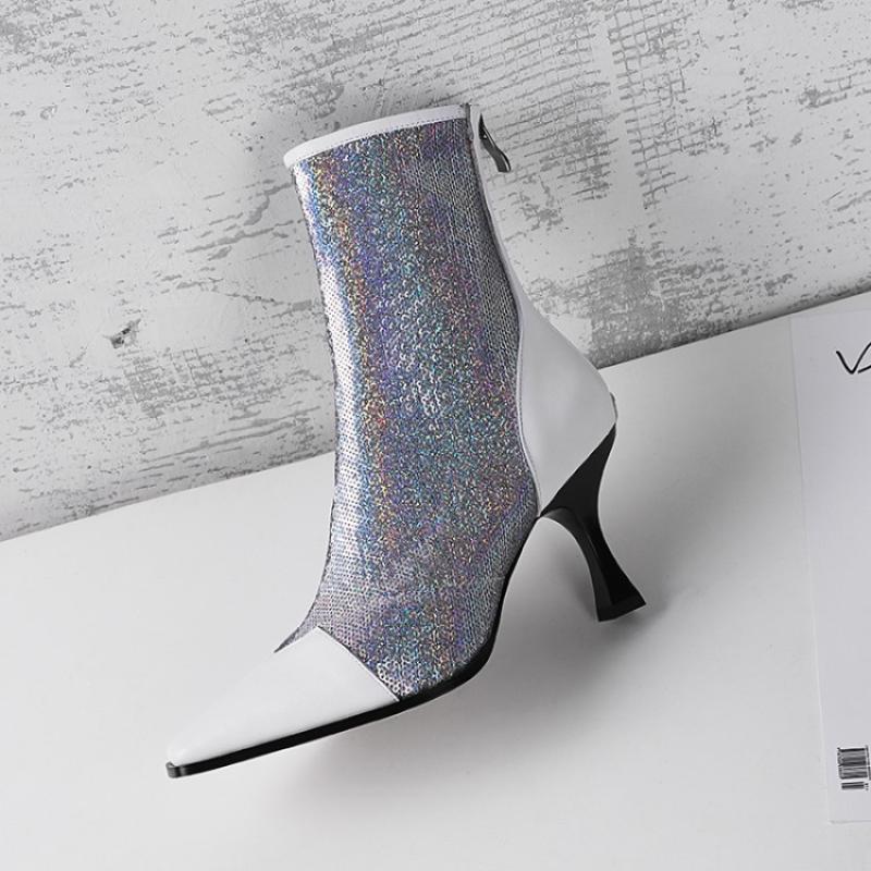 Stiefeletten As Mujer Pailletten Zurück Frau Heels Low Tuch Bottes Farbe Shows Gemischte De Weibliche Seltsame Spitz as Zapatos Shows Öffnen Stiefel Schuhe Picture xZwqSzUZY
