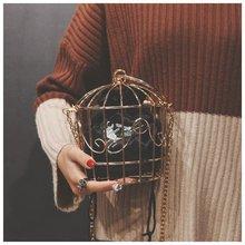 Bolso de noche con forma de jaula de pájaros para mujer, Mini bolso de mano con marco de Metal bordado, con borla de oro
