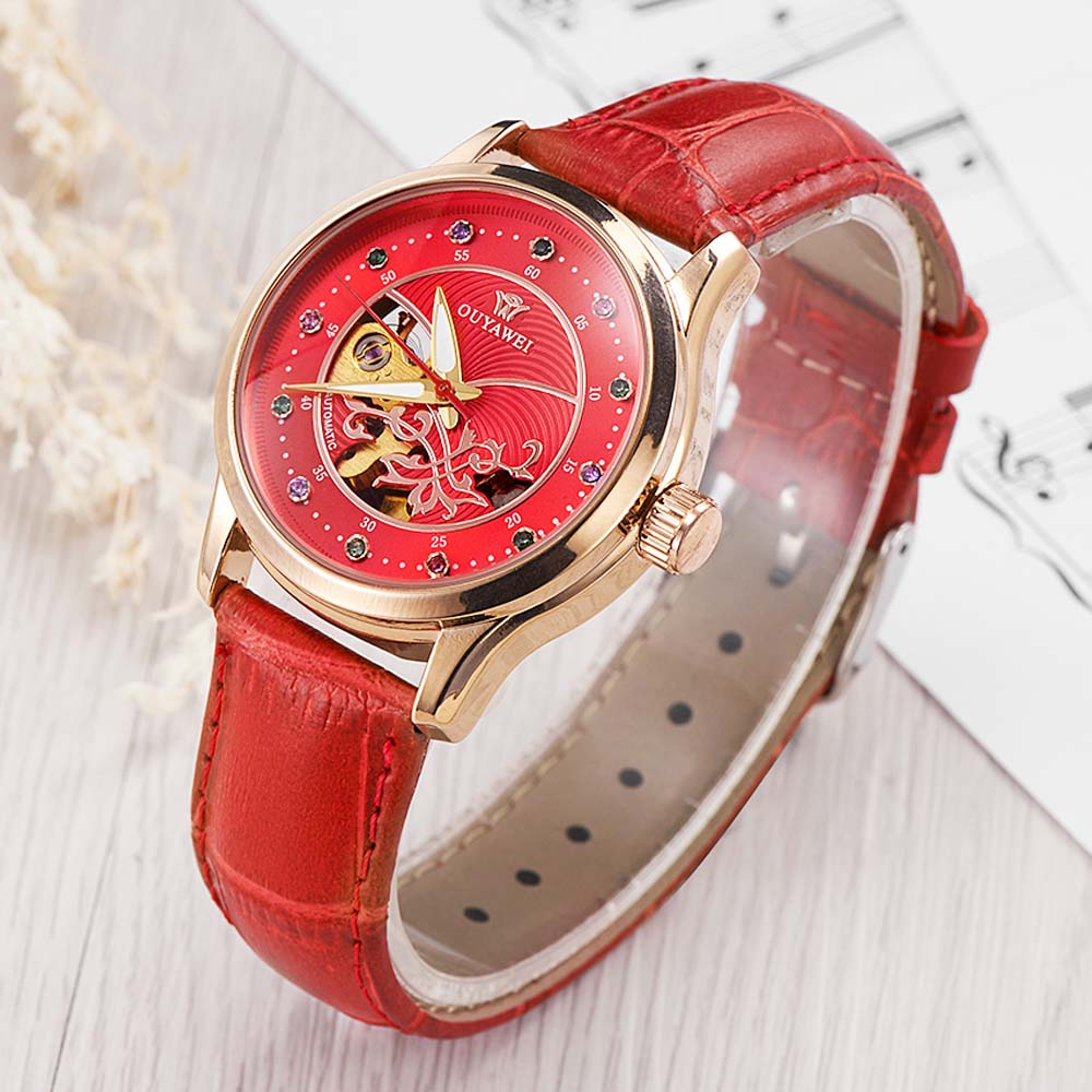 Dress women watches OUYAWEI skeleton mechanical watch red leather band ladies elegant fashion casual clock relogio femininos shenhua brand women watches skeleton mechanical watch white leather band ladies simple fashion casual clock relogio femininos