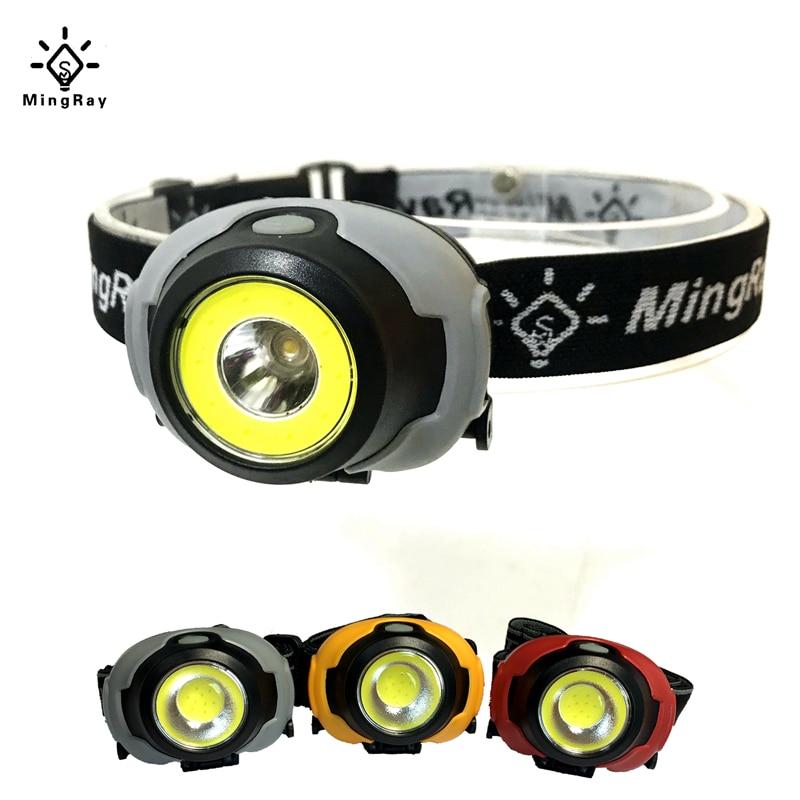 MingRay Mini COB Headlamp 3 W powerful led Headlight waterproof Flashlight on head for camping fishing ridding lamp lantern-in Headlamps from Lights & Lighting