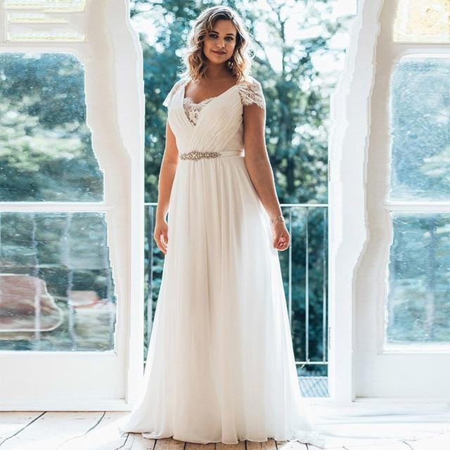 Plus Size Wedding Dresses 2019 V Neck Short Sleeve Brush Chiffon Train Illusion Back Beaded Sash