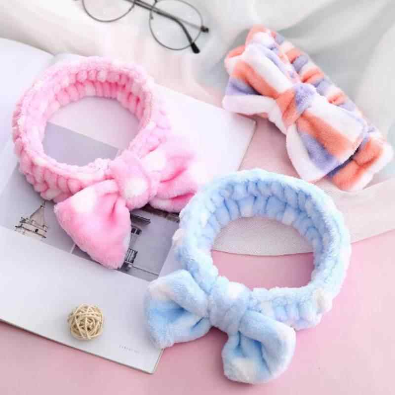 Women Girls Cute Coral Fleece Bow Headband Soft Wash Face Bath Hairband Cat Rabbit Ears Elastic Hair Bands Hair Accessories