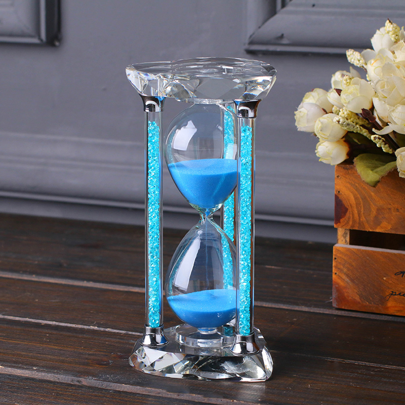 US $32 7 20% OFF|60 Minute Crystal Glass Diamond Sand Clock Timer  Valentines Day Decorative 1 Hour Hourglass Craft Gift for Home Table  Decoration-in