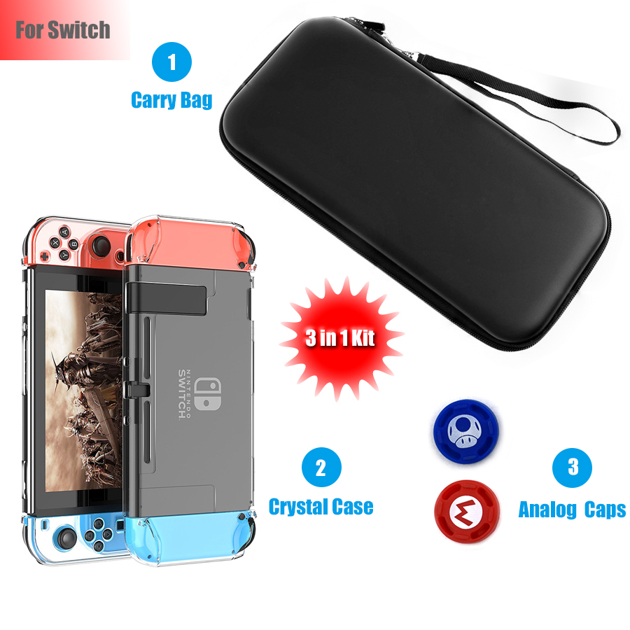 Nintend Switch Console Carrying Travel Bag Crystal Hard Case Shell with 2 Analog Caps 3 in 1 Kit for Nintendo Switch NS 11 in 1 accessories nintend switch ns carrying storage bag joystick handle grips charger silicone case caps for nintendo switch