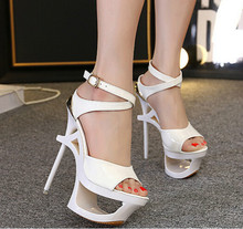 Waterproof shoes 16CM sexy summer Roman style patent leather with fine high with sandals nightclub Hollow