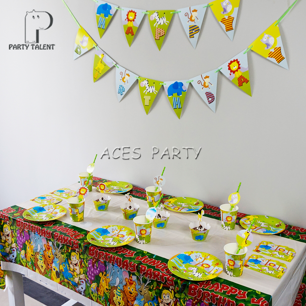 For 8kids 66Pcs Jungle Safari Animals theme birthday party supplie ...