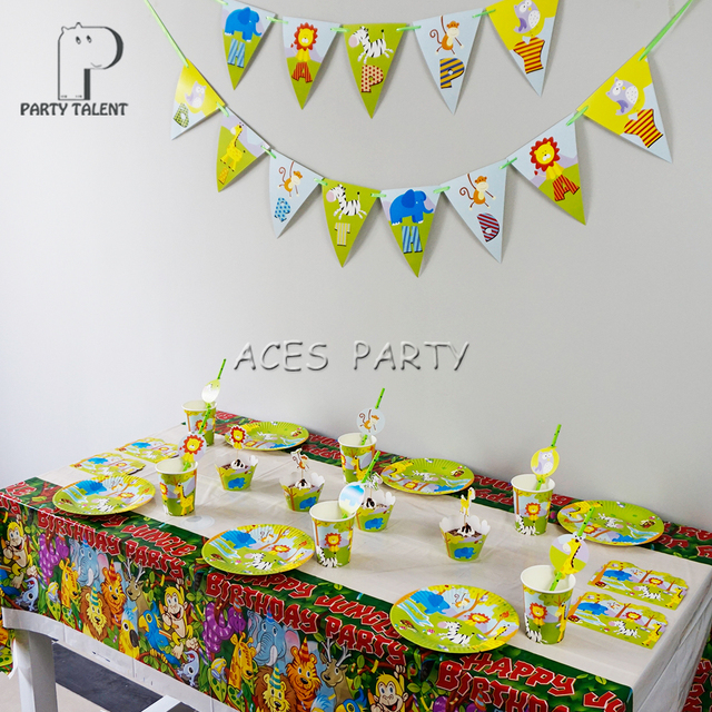 For 8kids 50Pcs Jungle Safari Animals Theme Birthday Party Supplie Tableware Set Plate Straw Glass Tablecover Invitations Ect