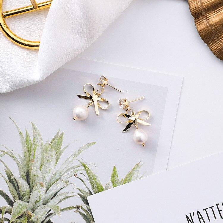 12 paires/lot mode coréenne arc perle boucles d'oreilles petite personnalité fille doux tempérament Mini boucles d'oreilles