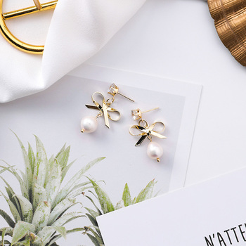 12pairs/lot  Korean fashion bow Pearl Earrings small personality girl sweet temperament Mini Earrings