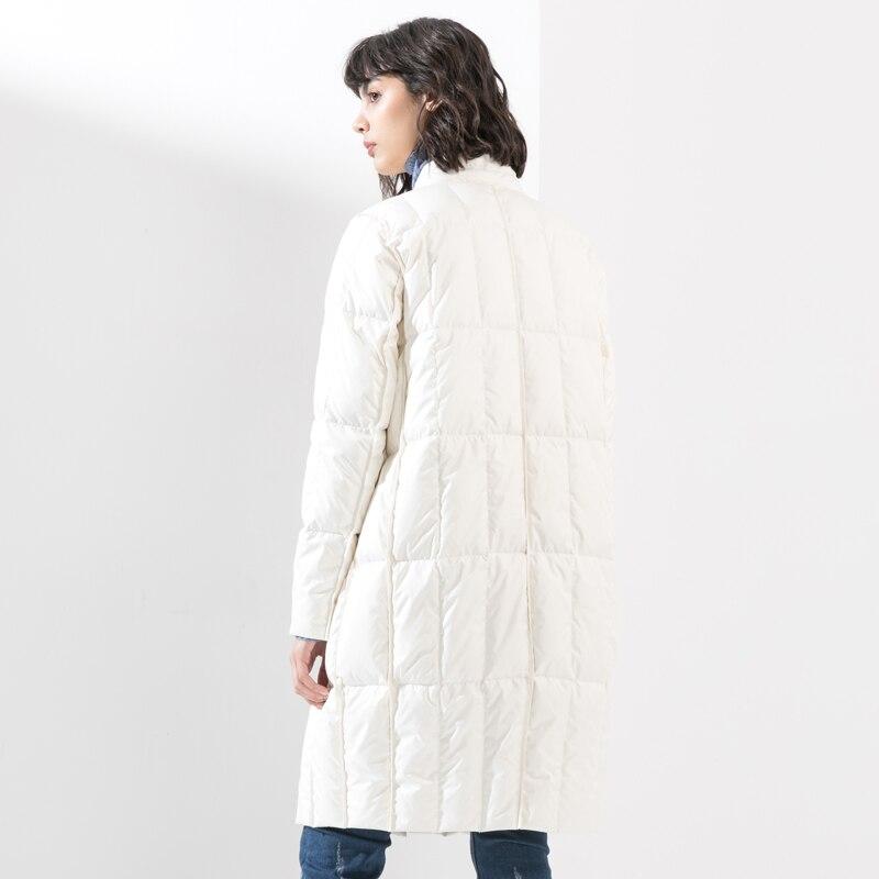 Black white Bas Le À Parka Lâche Duvet Femmes Femelle De Long Veste D'hiver Canard Hiver Mode Outwear 2018 Vers Boutonnage Blanc Manteau Double gHgBqpF1