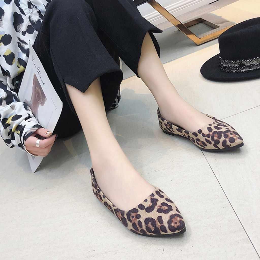 Nouveau Style femmes mode dames troupeau Loepard peu profonde unique plat chaussures bonne qualité Simple bout pointu chaussures décontractées 10