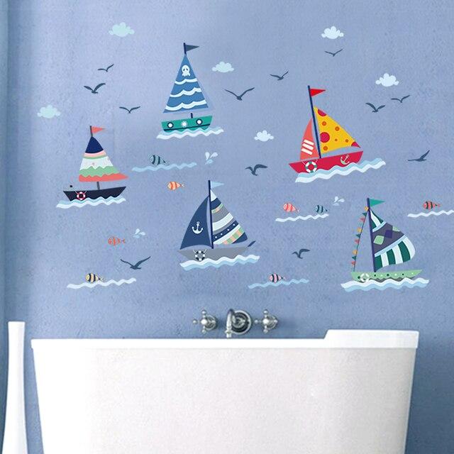 Zs Sticker waterdicht muursticker boot home decor zeilboot ...