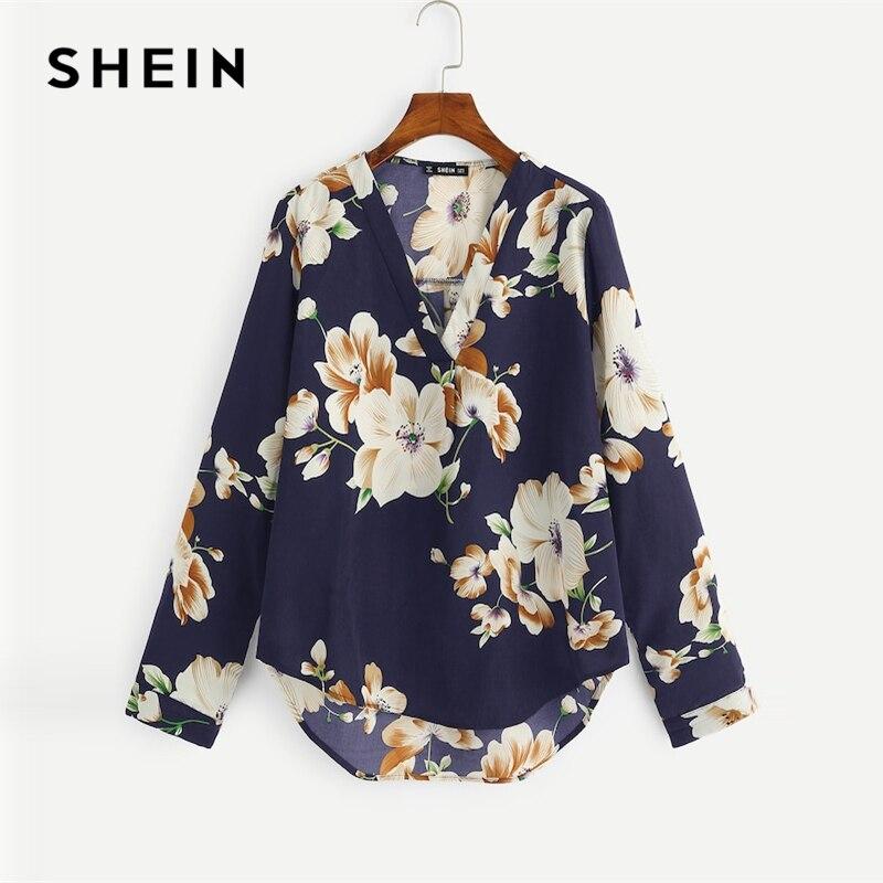 85a5a2bc1 Blusas Curva Mujer Y Azul Shein Tops Marino Otoño Floral Dip Casual ...