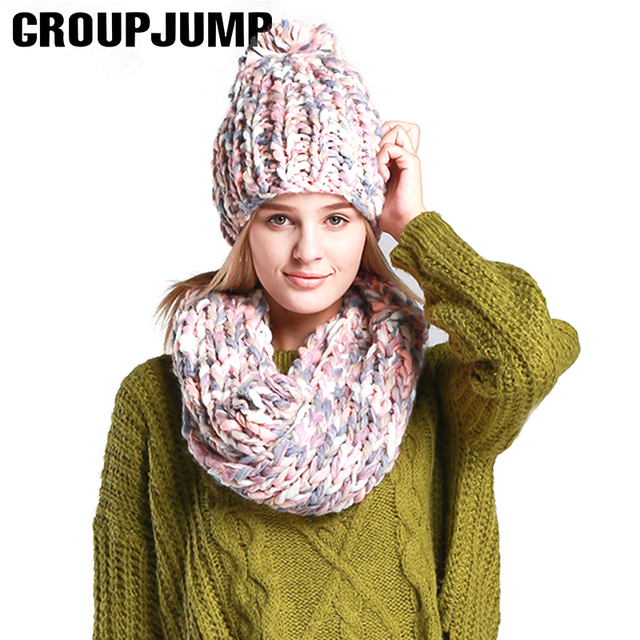 Brand Winter Scarf Hat For Women Warm Winter Women Hat Beanies Thick Female Bonnet Scarf Set Women Scarf Knitted