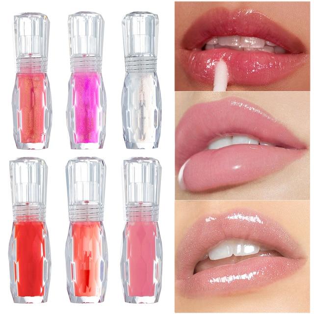 Limpiador de labios HANDAIYAN para el cuidado de los labios suero Reparación de labios humectantes labios llenos cosméticos jalea 3D volumen claro brillo de labios