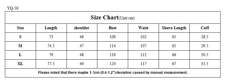 size chart for the jacket