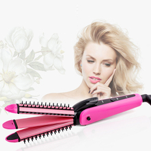 Discount! High Quality Multifunctional fast hair straightener Professional 3 in 1 Electric corrugated iron Ceramics Hair curler