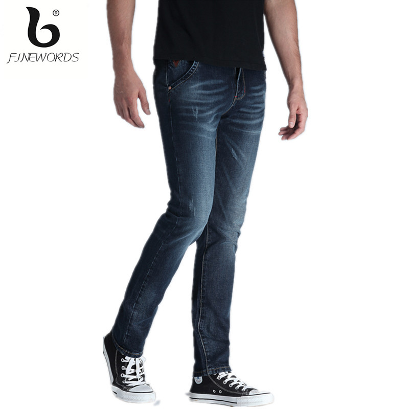 2017 Spring New Fashion Top Quality Famous Brand Jeans Straight Male Black Ripped Skinny Denim Pants Casual Trousers Plus Size