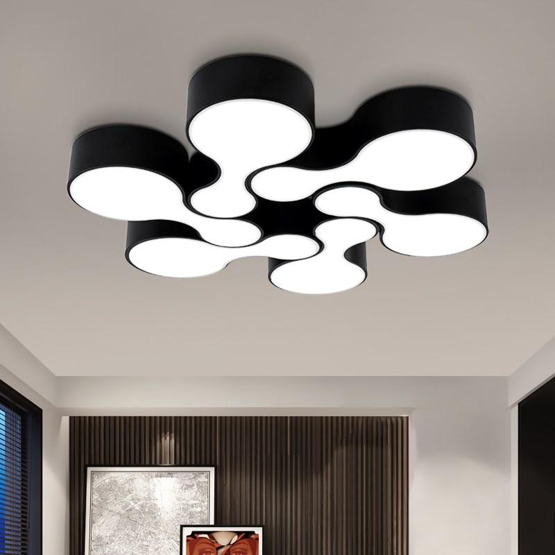 Накладные современные светодиодные потолочные светильники для кухни Гостиная лампа для боулинга Shade Black Color Home Decor lustres de teto