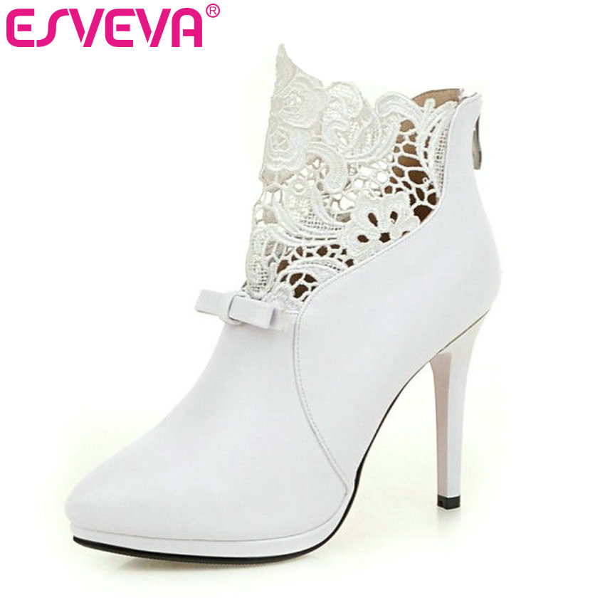 ESVEVEA Autumn White Wedding Shoes 2017 Sexy Women Boots Lace Thin High-Heel PU Ankle Boots Pointed Toe Bow Tie Boots Size 34-42 women sexy high heel ankle boots with lock lace up patent leather boots autumn short boots wedding shoes women botas size 36 46