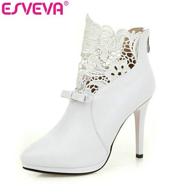 ESVEVEA Autumn White Wedding Shoes 2017 Sexy Women Boots Lace Thin High Heel PU Ankle