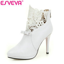 ESVEVEA Autumn White Wedding Shoes 2018 Sexy Women Boots Lace Thin High-Heel PU Ankle Boots Pointed Toe Bow Tie Boots Size 34-42
