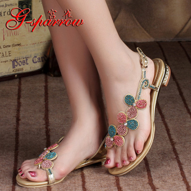 New Summer Style <font><b>Sexy</b></font> High Quality Elegant Women's <font><b>Shoes</b></font> Leather Heels Rhinestones Flip-Flops Sandals Casual Wedding <font><b>Size</b></font> <font><b>11</b></font> image