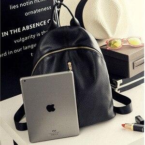 Image 2 - Женский рюкзак из ПУ кожи, Черный Повседневный дорожный рюкзак для девушек, 2020