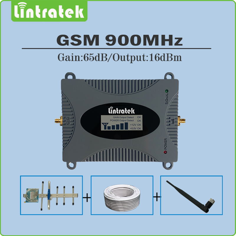 Lintratek LCD display 65dB Signal Booster 2G GSM 900 Mhz Cellphone Signal Repeater Amplifier Full Set with Antenna and 10M Cable