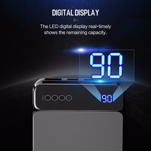 ROCK Power Bank 10000mAh with Digital Display Portable External Battery Type C 5V 3A Powerbank for iphone X Samsung Xiaomi