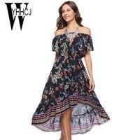 WYHHCJ 2018 Vestidos New Women Summer Dress Sexy Off Shoulder Slash Neck Women Dress Anomaly Print