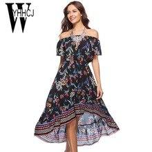 WYHHCJ 2018 vestidos novo vestido de verão mulheres sexy fora do ombro barra do pescoço mulheres vestido anomalia imprimir curto vestidos longos de praia robe