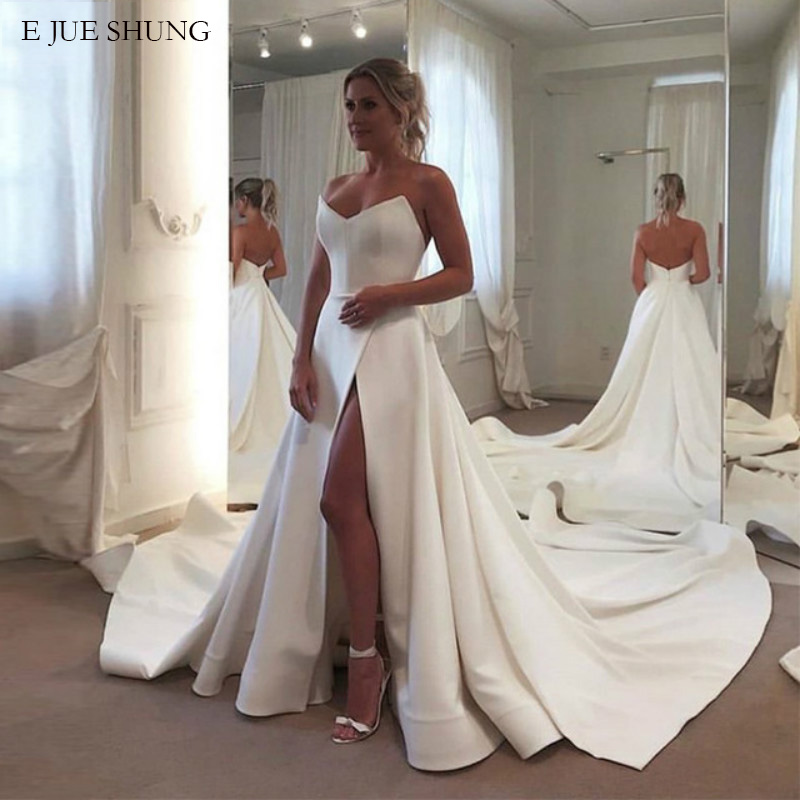 E JUE SHUNG White Satin Simple Wedding Dresses V neck Side Slit Wedding Gowns Bride Dress
