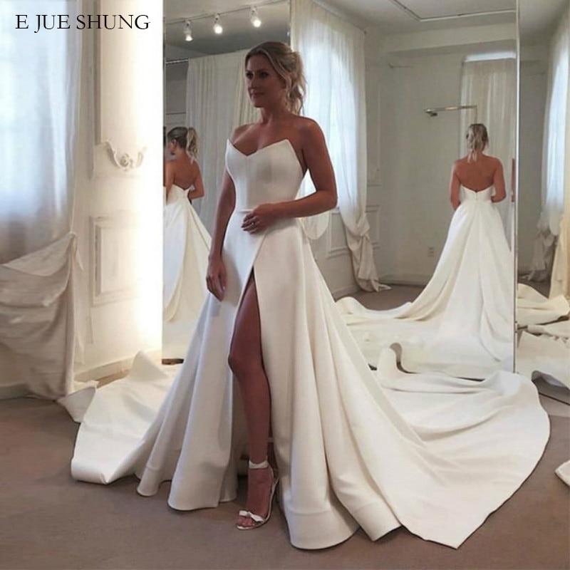 E JUE SHUNG White Satin Simple Wedding Dresses V-neck Side Slit Wedding Gowns Bride Dress Robe De Mariee