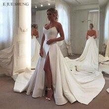 E JUE SHUNG Wit Satijn Eenvoudige Trouwjurken V hals Side Slit Bruidsjurken Bruid Jurk robe de mariee