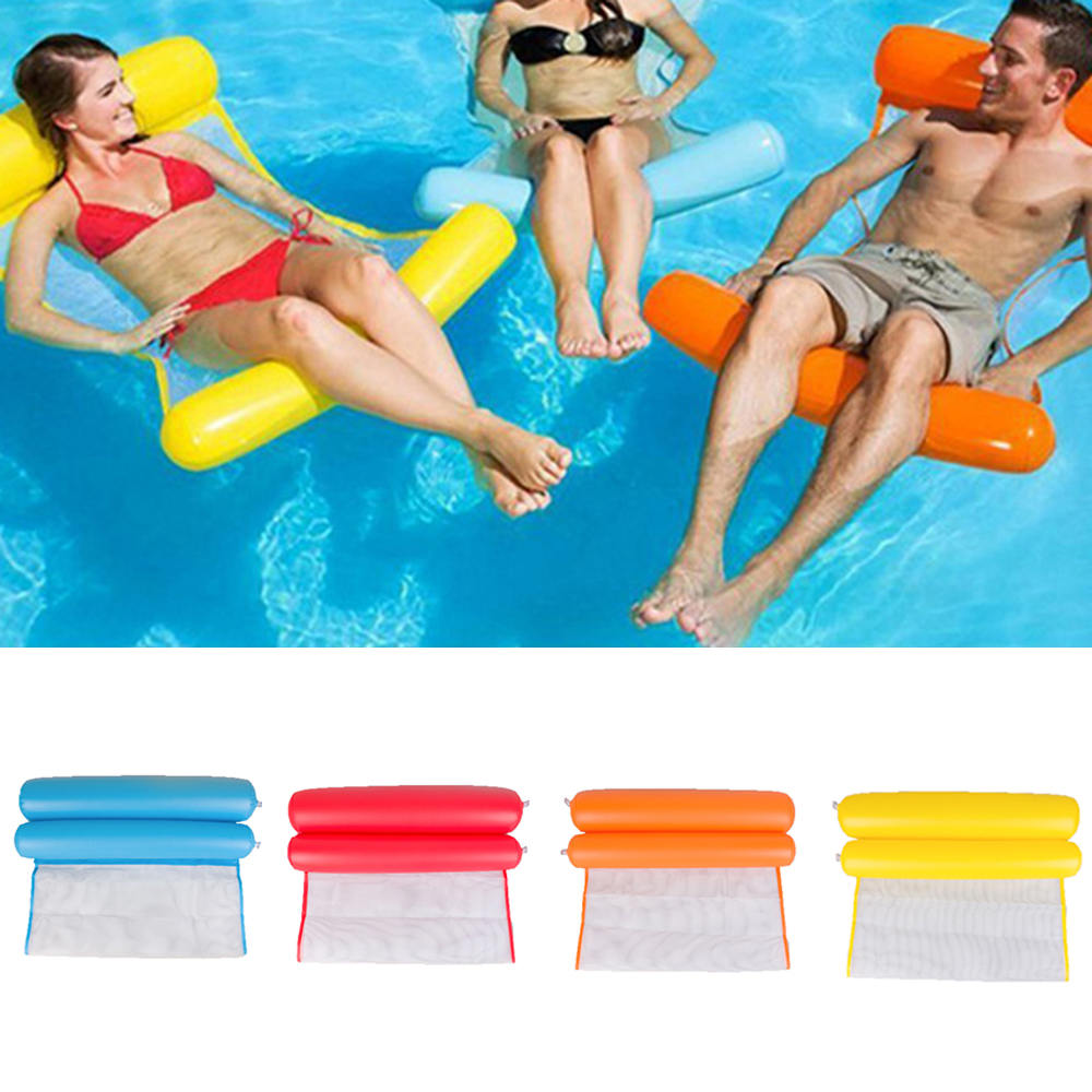 Kids Adult Foldable Outdoor Water Hammock Inflatable Beach Lounger Backrest Recliner Floating Sleeping Bed Chair