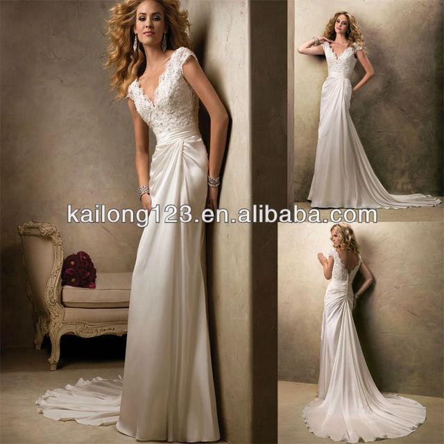 09b8d73b1c8 Dreamy V-neck Sheath Court Train Fitted Lace Overlay Bodice Draped Chiffon  Zipper Buttons Wedding Dress 2013