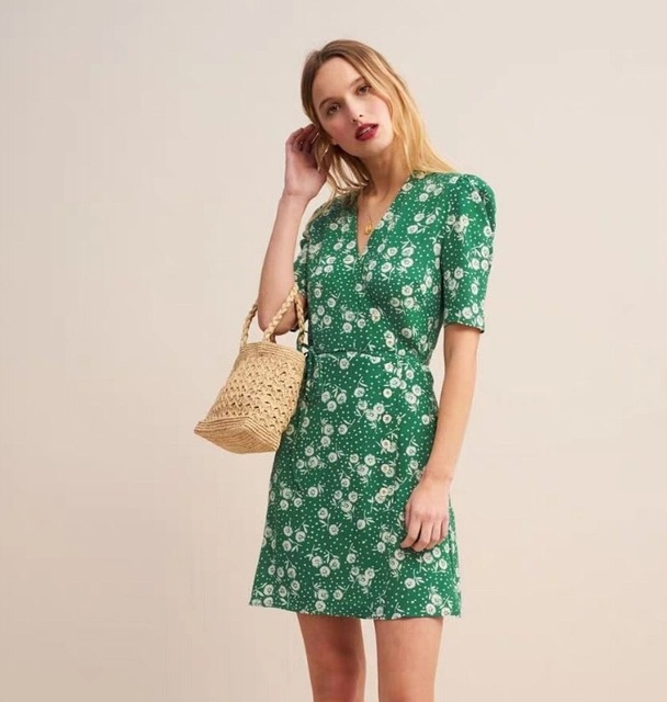 5847ea7176b4c US $40.8 20% OFF New 2019 Summer Women Dress Dandelion Printing Vintage  Short Style French Casual Clothing v neck wrap floral Clothes-in Dresses  from ...