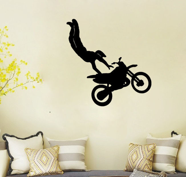 Beautiful Motorcycle Wall Stickers Part - 10: Motorcycle Racer Tricks Kids Room Decoration Sports Vinyl Wall Quote Home  Decorative Wallpaper Children Room Wall Stickers