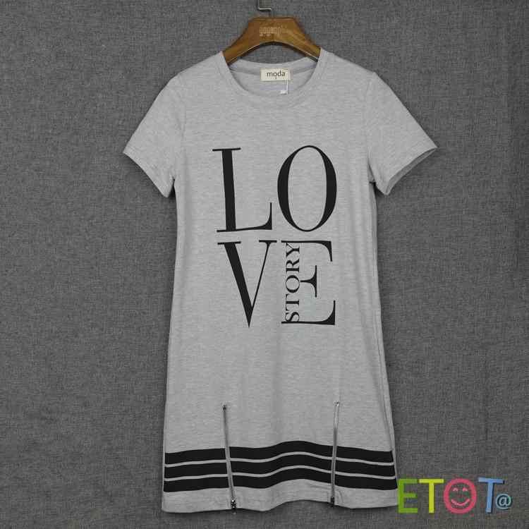 Koszulka damska 2019 moda zamek miłość drukowane litery zamek długi T koszula kobiety topy z krótkim rękawem odzież Vestidos LBD301