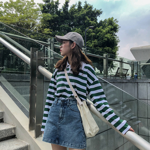 Loose Casual Vintage  Striped Basic All Match College Wind Long Sleeve Turn Down Collar Female Women Basic T-shirts 2