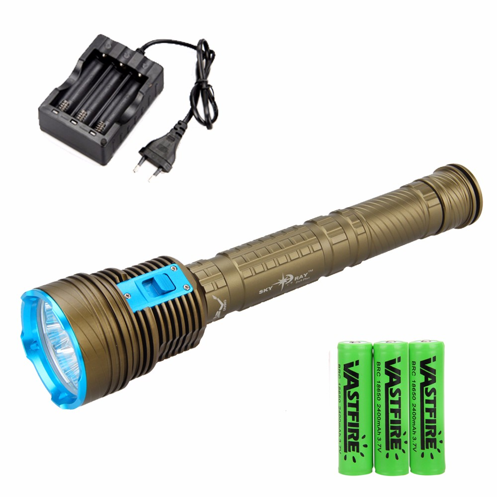 Real 18000LM 9X XML L2 LED Diving Flashlight Lamp Scuba Dive Torch   Underwater 100M With 18650 Battery And Charger sanyi diving light xml t6 led dive flashlight zoomable lamp torch underwater 50m waterproof 18650 battery diver torch flashlight