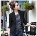 Casual blazer women black color long sleeve one button official work well all matched slim outerwear coat plus size jacket suit